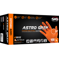 SAS ASTRO GRIP PF ORANGE NITRILE GLOVES LARGE (BOX 100) image